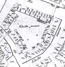 Map of the ghetto of Venezia, with particles and owners